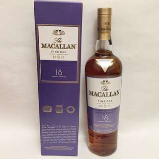 The Macallan Fine Oak Highland single malt Scotch whisky, 18 years old 700ml, triple cask matured 全新連盒