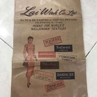 Vintage Lai Wah Co. Ltd Penang Paperbag