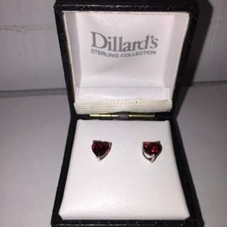 Stirling silver Red heart earrings