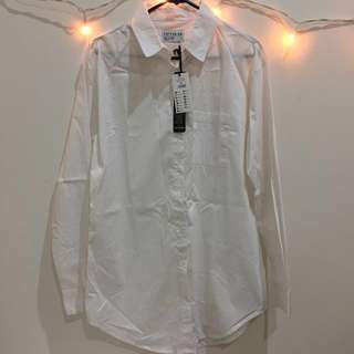 COTTON ON white long line shirt