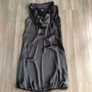 Black silk like dress