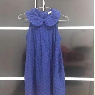 Sleeveless Collar Blue Top with Unique Details - Atasan Sleeveless Berkolar dengan Detail Unik