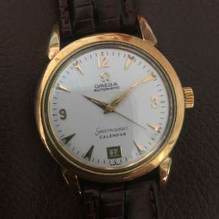 OMEGA 60's Seamaster Automatic Calendar DATE @6 SOLID GOLD TOP Man Vintage Wrist Watch RARE
