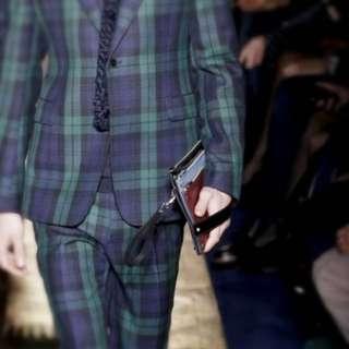 valentino runway triple leather clutch
