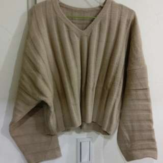 Aachic 針織毛料坑條寬袖v領毛衣