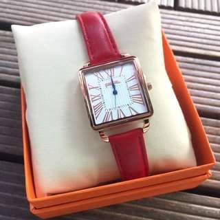 全新Folli Follie Retro Square Medium Case Leather Watch