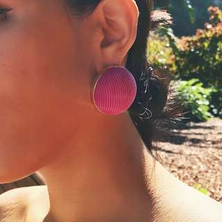 Bon Bon Half Ball Shaped Magenta Textured Fabric Earrings