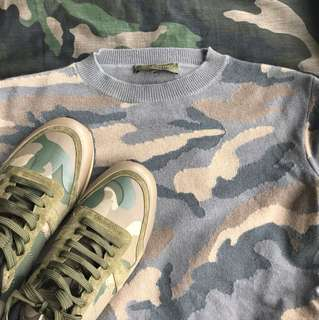 valentino camouflage sweater n sneakers set