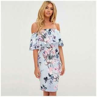 Half Shoulder Floral Dress