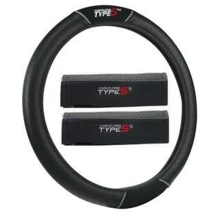 Type S 11814 Steering Wheel Cover + 11607 Seatbelt Pad Black