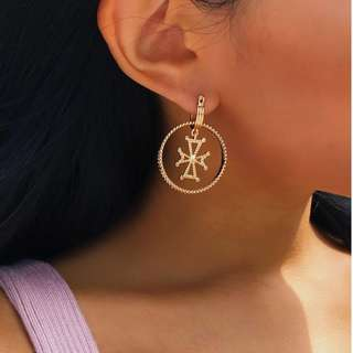 Florence Two Way Golden Mini Cross Hoop Earrings