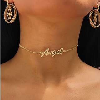 Made In Heaven Golden Angel Letters Choker Necklace