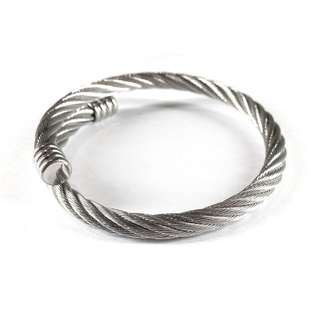 Twisted Rope Style Bangle (Silver)