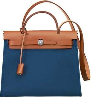 Authentic HERMES Herbag Zip 31 Shoulder Bag in Blue Canvas