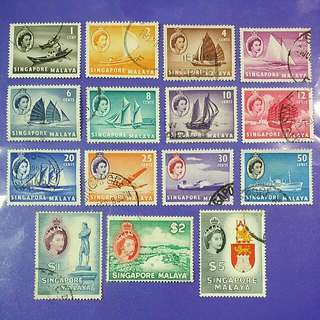 1955 Singapore Queen Elizabeth QE II Definitives Stamp Set