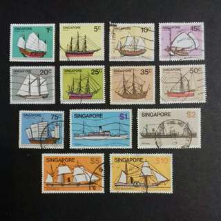 Singapore 1980 Ship Definitive Series Complete Set 12v - Used, 1v - MNH