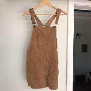 Subtitled brown corduroy overalls/dress