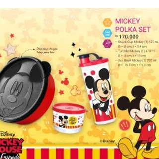 1 set tempat makan anak mickey polka