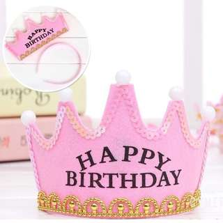 Happy Birthday Crown Cap Headband with LED Light (Pink Color)