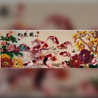 5D diamond Chinese Painting 富贵吉祥九鱼图