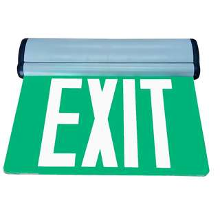 Edge Lit Exit Sign, Exit Signage Green Background white text