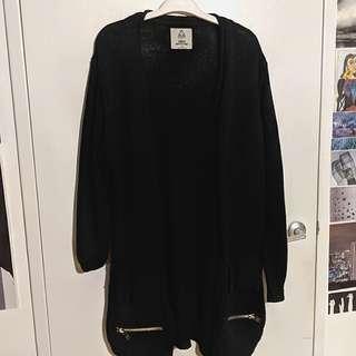 UNIF x UO black zipper cardigan sweater