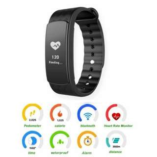 [PO] Bluetooth Fitbit Bands Waterproof Smart Watch i3HR Smartbands Heart Rate Monitor Activity Tracker for IOS & Android (Color: Black Blue Purple )