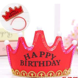 Happy Birthday Crown Cap Headband with LED Light (Red Color)