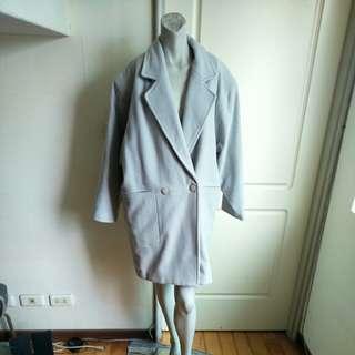【#超取再七折】【onsale】8.90年代精品店oversize灰色粗呢大衣外套