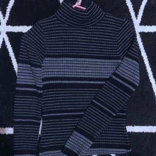 High Neck Stripe ribbed jumper/knit