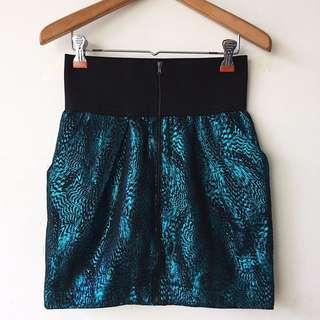 Zara metallic zip up skirt w/ garter waistband