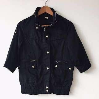 Black bomber parka jacket w/ hoodie