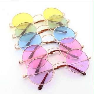 Korean Ulzzang: Pastel Round Fluorescent Glass Specs Flat Lens Golden Frame Sunglasses