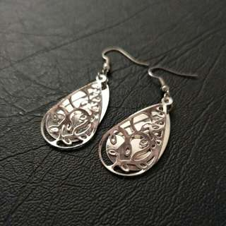 NEW Silver Teardrop Drop Earrings - dangly, simple, swirl, layered