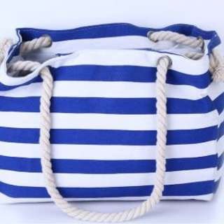 New Women striped canvas shoulder bag