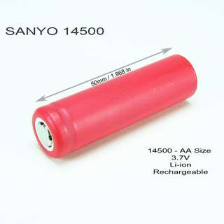 Sanyo 14500 LIthium Ion Rechargeable Battery - $10 Per Pc