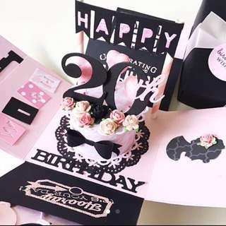 Happy 20th Birthday explsion Box Card in black and light pink
