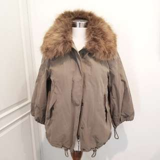 REPRICED! New ZARA Taupe Green Parka Jacket With Fur Collar - XS S - Authentic. RRP 1,699,000