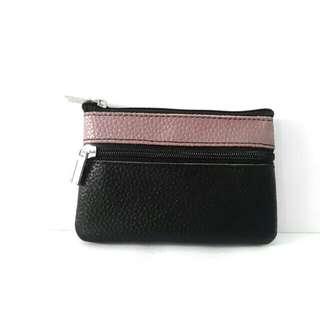 Mini small 2 zip compartment pouch