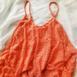 Orange Lace Crop top