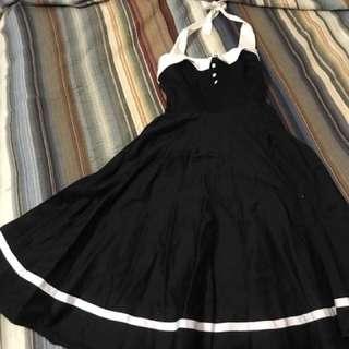 Vintage style pin-up M Blue/White dress