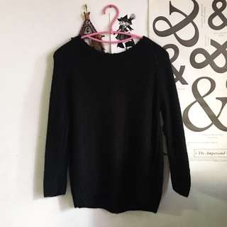 H&M Black Mohair Wool Pullover