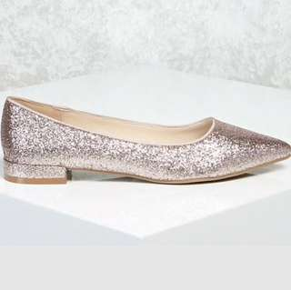 Glitter Pointed Toe Flats, Rose Gold, Size 6.5M