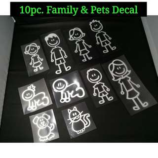 Family & Pets Decal Set For Car (10pc.)
