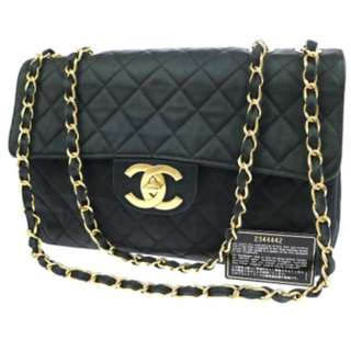 Chanel bag cc quilted double chain shoulder bag black satin