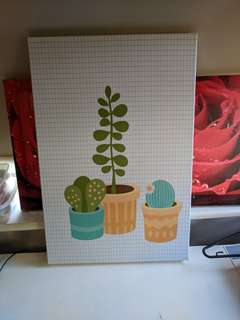 Cute cacti and succulent wall canvas