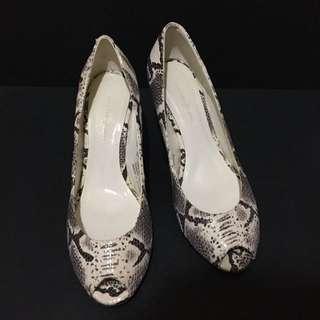 giordano/ladies 淺灰花色楔型中跟露趾鞋 #有超取最好買