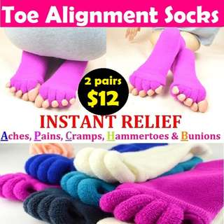 *IN STOCK* UNISEX Toe Alignment Socks (6 Colours) (1 pair for $8 or 2 pairs for $12)