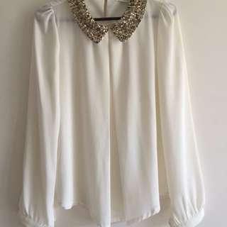 Sheer sequinned collar blouse