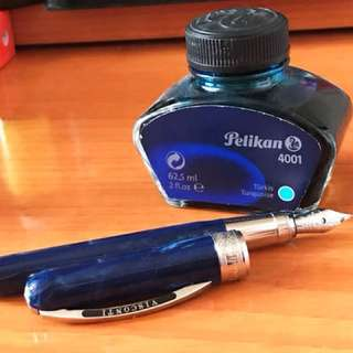 BIG SALE - Visconti Rembrandt Fountain Pen- Blue -Fine Nib and Pelikan 4001 Turquoise Ink